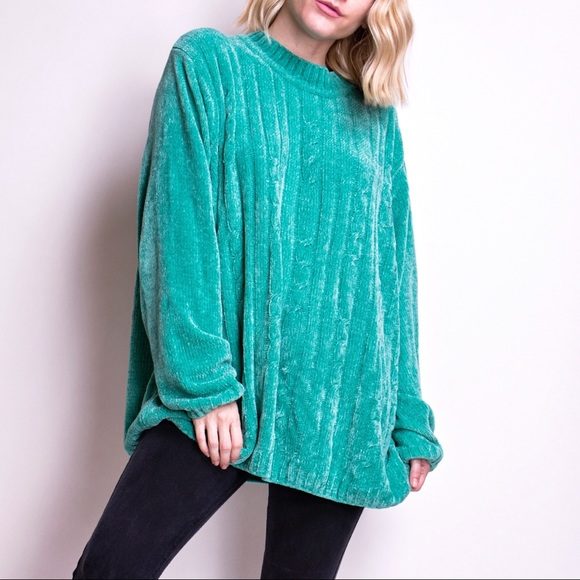 Vintage 80s sea foam green oversized sweater